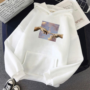 ZITY Couple Oversize Hoodies Korean Style Finger Touch Print Women Sweatshirt Streetwear Simple All -Match Unisex Pullover Hand 0915