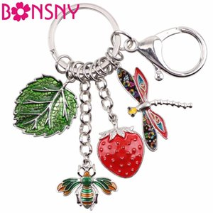 Hawaii Tropic Summer Collection Alloy Bee Strawberry Dragonfly Leaf Car Key Chains For Women Handbag Purse Charms Keyring