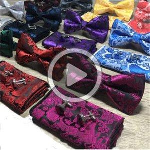 Paisley Bow Tie Set Bow Tie И Hanky Запонки Комплект шелкового Jacqrd Тканые Мужчины бабочки Боути Карманный Sqre Handkerchief Костюм Свадебный