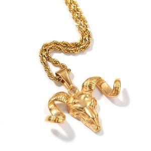 Hip Hop Gold Titanium Steel Skull Goat Horn Pendants Necklaces for Men Rock Jewerly Drop Shipping