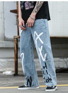 Doodling Relaxed Jeans Solid lettera stampata Maschio Pantaloni Mens Vintage Hiphop allentati dei jeans dei ragazzi Gamba larga Designer
