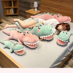 Funny Soft Simulation Crocodile Plush Toy Cartoon Animal Alligator Stuffed Doll Bed Sleeping Pillow Cushion Friend Birthday Gift MX200716