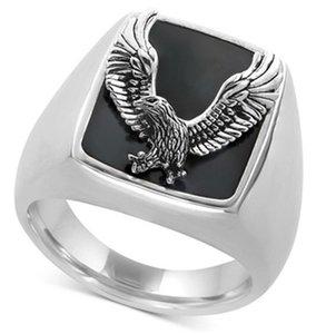 2020 Punk Männer Ringe Schriftzug Amerikanischer Radfahrer Freiheits-Eagle-Tiermuster-Silber-Farben-Finger-Ring Male Rock Schmuck Size7-13
