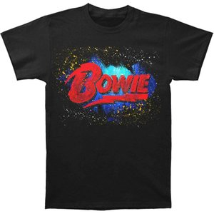 David Bowie Men's Stephen Fishwick Men's Bowie Logo T-Shirt Black Breathable Tee Shirt