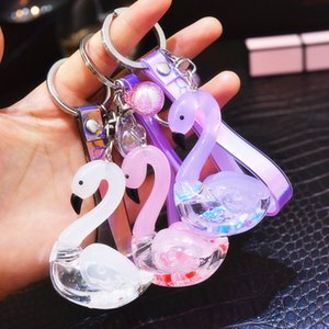 Fashion Sequins Creative Korean Version of Quicksand Sequins Acrylic Into Little Key Chain PVC Rope Lover Car Keychain Gift