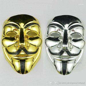 Mask Cosplay Costume Movie Stars Party Stage Mask PVC Halloween V Word Electroplating Unisex