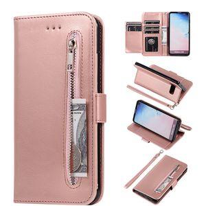 Samaung Galaxy S20 S10 S9 S8 Artı S7 Not 8 9 10 20 Ultra A11, A40, A30, A20, A10 Kapak için Deri Fermuar A51, A71 A70, A50 A41 Kasa