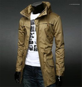 With Pockets Long Sleeve Slim Outwear Fashion Mens Tops New Solid Color Mens Trench Coat