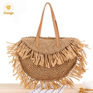 Oswego Straw Handbags For Women New Large Capacity Fashion Popular Woven Beach Bag Bohemian Shoulder Bag Summer Totes Bag Female