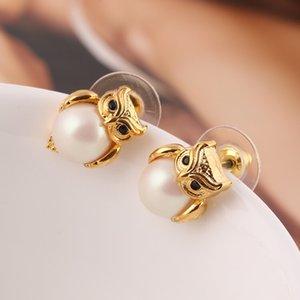 Designer Jóias Mulheres brincos de pérola Silve Suits Owl colar de ouro Stud Fahion estilo Ins ouro rosa Três pedras Bijoux Ganhos