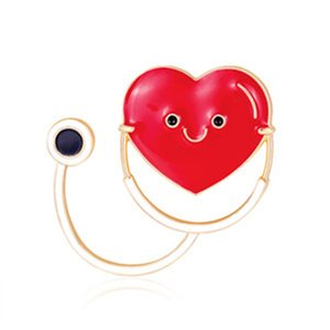 Fashion Heart Brooch Pins for Party New Enamel Pins and Brooches for Women Cute Stethoscope Brooches Badge for Girls