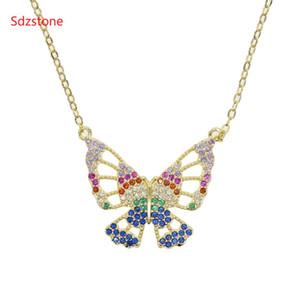 Sdzstone 2020 Женщин искрения Подвеска Bling розовых многоцветного Cz животные бабочка ожерелье Рок шарма способ ювелирные изделия