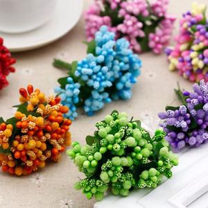 12pcs Mini artificiels Pip Baies Stem Bouquet mousse de fruits fleur pour Étamines bricolage Couronnes Garland Mariage Boîte cadeau Décoration