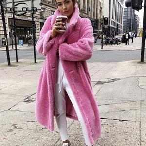 Pembe Uzun Oyuncak Ayı Ceket Coat Kadınlar Kış 2020 Kalın Sıcak Boy Chunky Dış Giyim Palto Kadın Sahte Lambswool Kürk Palto T200915