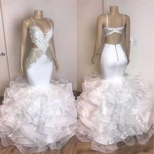 White Beaded Backless Mermaid Prom Dresses Spaghetti Straps Sequined Evening Gowns Ruffled Organza Sweep Train Formal Dress