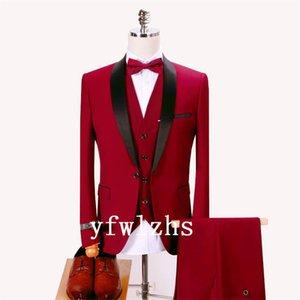 Classic One Button Handsome Groomsmen Shawl Lapel Groom Tuxedos Men Suits Wedding Prom Best Man Blazer ( Jacket+Pants+Vest+Tie) W511
