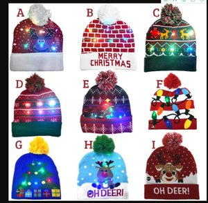 ON SALE! 2020 New Year LED Knitted Christmas Hat Beanie Light Up Illuminate Warm Hat For Adults Women and Men Caps New Year Christmas Decor