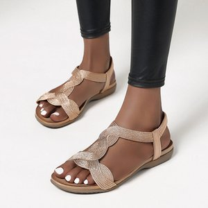 2020 New Summer Women Sandals Flats Casual T-Strap Gladiator Sandals Bling Gold Silver Knitted Beach Flat Shoes Women Fashion