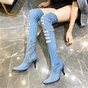 Hole donne di disegno di alta della coscia stivali calzino elastico stivali tacco alto sopra il ginocchio Slim Fit Jean Botas Mujer Denim Calzature Donna
