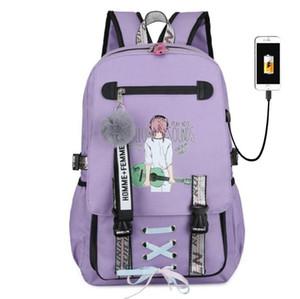 Студент смазливой мешок школы Kawaii девушка Рюкзак Женщина Путешествие Рюкзак Противоугонная USB зарядка ноутбук женщина мода мешок книга