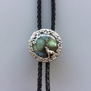 Новый JEAN'S FRIEND Оригинал Vintage Silver Plated Nature Лабрадорит камень Moon Wolf Боло Галстук Каждый камень уникален