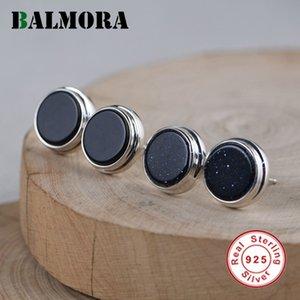 Balmora original réel argent 925 dormeuses pour les femmes Retro Black Agate Ear Stud Cristal Wear Daily Bijoux cadeau