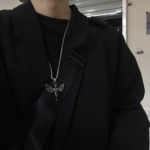 Kpop Retro Harajuku Hip Hop Angel Pendant Stainless Steel Men E-girl Necklace Disco Couple Gothic Colar Necklace Jewelry