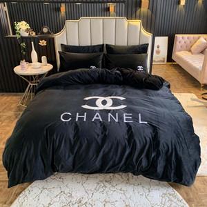 Invierno Sistemas del lecho de terciopelo Negro cubierta del Duvet de la reina del bordado de la hoja de cama de almohada suave cama caliente Conjuntos moderno anaranjado edredones