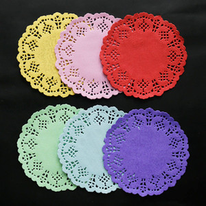 "200pcs 3.5"" Colorful Round Lace Paper Doilies Cake Paper Mat Vintage Coaster Placemat Wedding Birthday Party Table Decoration"