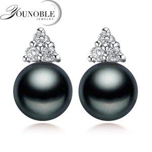 Nupcial Genuine Black Pearl brincos para mulheres na moda pérola de água doce 925 Brinco de Prata Jóias