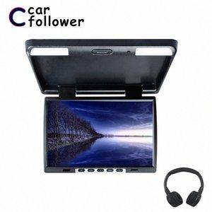 15.4 인치 지붕 마운트 플립 1024 * 760 TFT LCD 모니터 MP5 IR 송신기 조정보기 화면 돔 LED 라이트 자동차 TV jXJb 번호 아래로