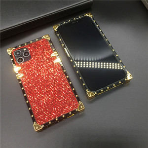 Sparkling Soft Case with Ring Holder Case for IPhone 12 11 Pro MAX Luxury Bling Cover Square Glitter Phone Case for XR XSMAX 7 8Plus