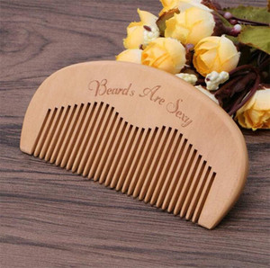 Customized logo Pocket Hair & Beard Comb Peach Wood Fine Tooth Hair Care Styling Tool Anti Static Premium Pear Wood Hair Brush Baber Comb