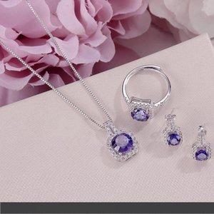 Fine Jewelry Sets für Frauen S925 Silber 100% natürlichen Tanzanite Platz blauen Edelstein-Ring-Halsketten-Anhänger Ohrstecker CCS009
