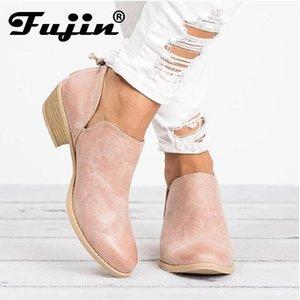 Fujin Primavera Outono mulheres borboleta nó botas Zipper Salto Alto Apontado Toe Shoes mulher Botas femininas de inverno
