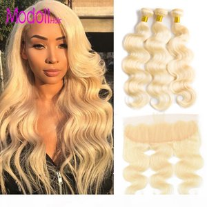 613 Bundles With Frontal Body Wave Raw Virgin Indian Hair Weave 10A Grade 613 Blonde Body Wave 3 4 Bundles With Lace Frontal