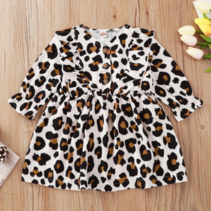 Toddler Baby Girls 3-24M Cotton Long Sleeve Fashion Dress Children Spring Autumn Leopard Dresses Princess dresses