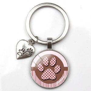 Fashion cute animal print keychain cat dog I love glass pendant mini heart keyring car key man girl favorite gift souvenir