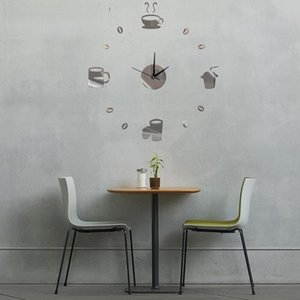 Kitchen Interesting Clock Design Living Room Home Mirror Surface Office Stereoscopic Coffee Cups Wall Sticker DIY Decorations
