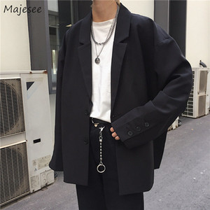 Men Solid Black Blazers Autumn Single Breasted Korean Chic Casual Oversize Mens Outwear Pockets Ins Simple Ulzzang Loose Chic BF