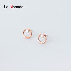 La Monada Stud Earrings For Women Silver 925 Imitation Pearl Fine Women Earrings Jewelry Stud 925 Sterling Silver