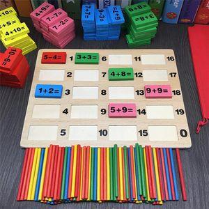 Montessori brinquedo Brinquedos Educativos Matemática de madeira para crianças Domino 3-4-5-6-7-8 Years Old presentes Jogo Funny Kids LJ200907