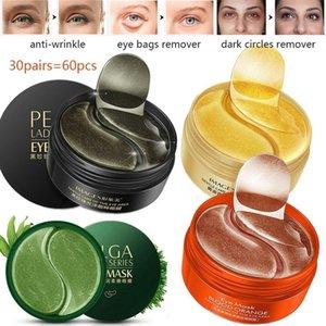 Escuras 30pairs = 60pcs colágeno rugas Patches Anti Círculos Olhos máscara de ouro Hidratante Hidrogel remendo sono Eye Care para Mulheres