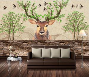 Custom Photo Wallpaper Elk European retro nostalgic background wall Living Room bedroom Sofa Home Decor 3D Wall Murals