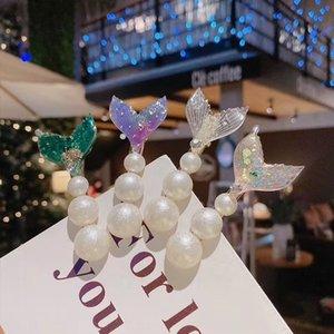 3IqgQ princesa sirena de cuatro piezas súper hada cola de pez explosiones de diamantes de imitación horquilla de cuatro piezas conjunto de diamantes de imitación conjunto 4 de 4 horquilla del clip de la perla de s