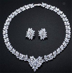 Luxurous Zirkon Halskette Schmuck-Set Silber für Hochzeit Braut-Brautjunfer Partei-Abschlussball Schmuck Anhänger CZ Halskette Modeschmuck