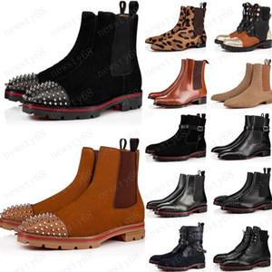 패션 새로운 스타일의 붉은 바닥은 남성 부트 스파이크 스웨이드 가죽 남성 유일한 남자 신발에게 슈퍼 완벽한 멜론 오토바이 발목 부팅 빨간색 운동화