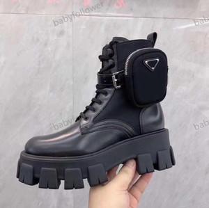 Prada boots La plataforma del cuero genuino de los nuevos hombres y mujeres últimos zapatos casuales Bolsa Botas Top pulso triple Martin botas Tamaño 35-45 seguidor