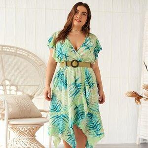 design abbigliamento donna di grandi dimensioni Dress pannello esterno della spiaggia Skirtfat estate mm grande vestito 2019 nuovo V-collo pannello esterno della spiaggia QVoai
