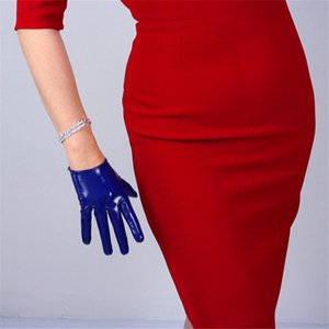 Lackleder-Handschuhe 16cm Ultra Short Leder PU-Handschuhe Spiegel Bright Bright Dark Blue Frauen BL02